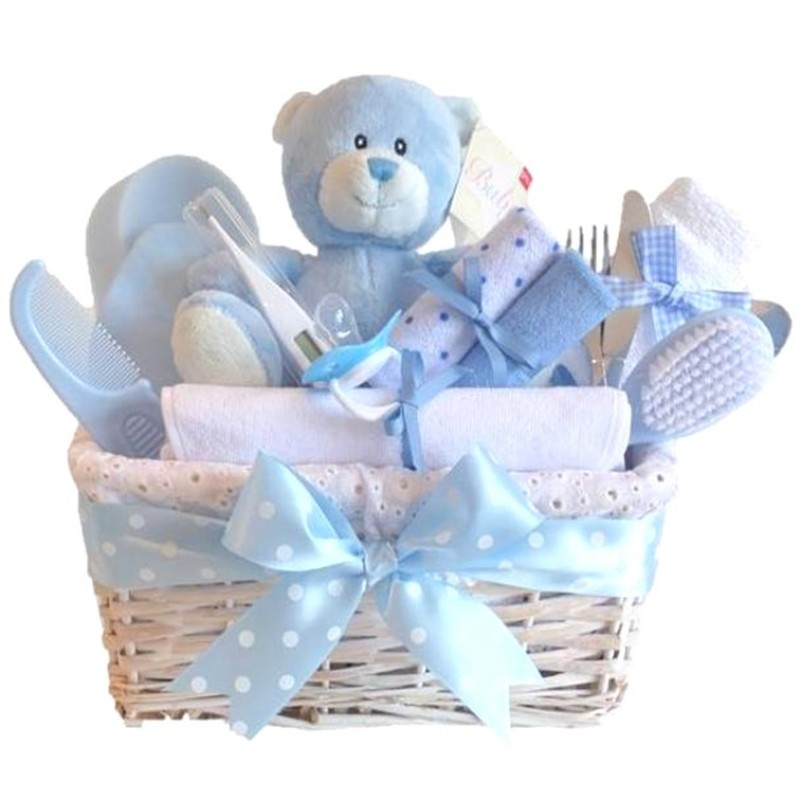 angel deluxe baby boy gift basket baby boy gift hampers baby boy basket baby shower gifts. Black Bedroom Furniture Sets. Home Design Ideas