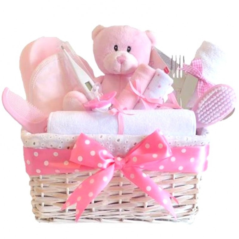Baby Gift Baskets Boots : Angel deluxe baby girl gift hamper basket