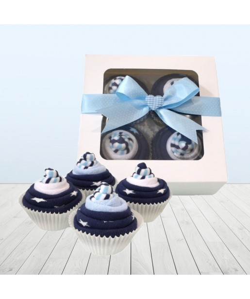Baby Blue Sock Cupcakes Baby Gift Set⼁It's A Boy New Arrival Gift Box Set
