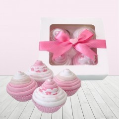 Baby Girl Pink Sock Cupcakes Baby Gift Set⼁Handmade Baby Shower Gifts