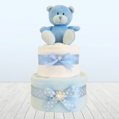 My First Little Blue Bear Baby Shower Boy Blanket Two Tier Nappy Cake