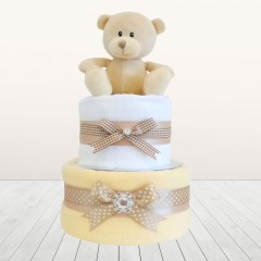 My First Teddy Bear Unisex Baby Shower Two Tier Neutral Nappy Cake Sets