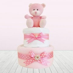 My First Pink Little Princess Baby Shower Girl Blanket Two Tier Nappy Cake