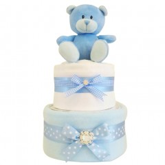Blossom Two Tier Baby Boy Nappy Cake Baby Gift  / Blue Nappy Cake