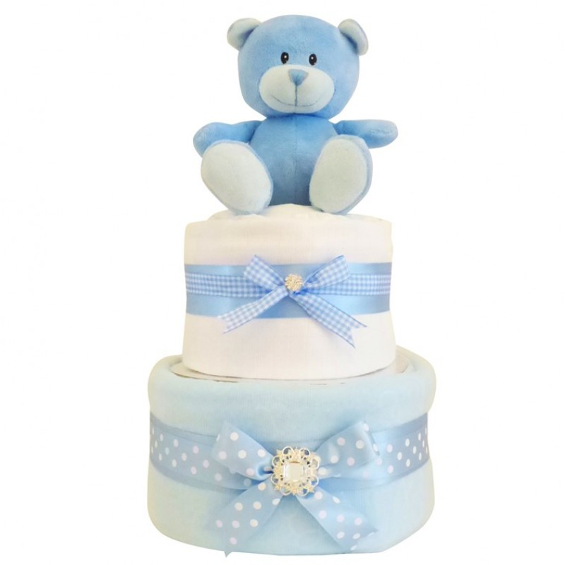 Baby Gift Cakes Uk : Blossom two tier baby boy nappy cake gift blue