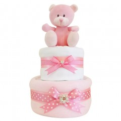 Blossom Two Tier Girls Nappy Cake / Pink Nappy Cake
