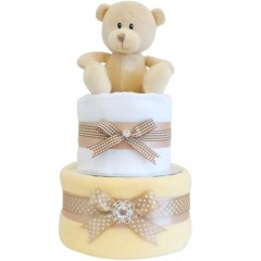 Blossom Two Tier Neutral Nappy Cake Baby Gift  / Unisex Nappy Cake / Neutral Baby Shower Nappy Cake