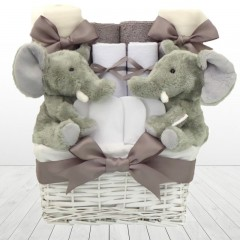 Elli Elephant Twin Baby Gift Basket Hamper Set⼁Baby Shower Gifts for Twin Boys and Girls
