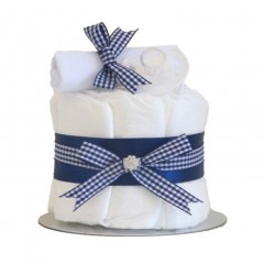 Little Cutie Boys Nappy Cake Navy Single Tier / Baby Shower Gifts / New Baby Gifts