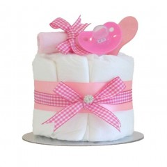 Little Cutie Girls Nappy Cake Pink Single Tier / Baby Shower Gifts / New Baby Gifts