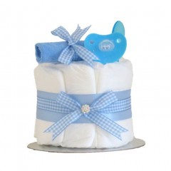Little Cutie Blue Nappy Cake Single Tier / Boys Baby Shower Gifts / Boys Nappy Cake