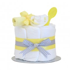 Little Cutie Mini Nappy Cake Single Tier Yellow  / Baby Shower Gifts / Unisex New Baby Gifts