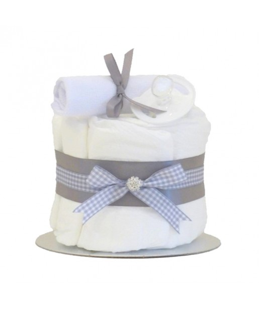 Little Cutie Unisex Nappy Cake Grey Single Tier / Baby Shower Gifts / New Baby Gifts