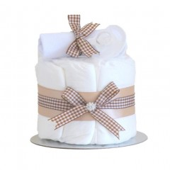 Little Cutie Unisex Nappy Cake Beige Single Tier / Baby Shower Gifts / New Baby Gifts