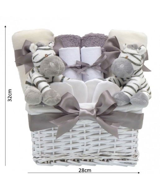Zebra Unisex Newborn Twin Baby Gifts⼁Twin Gifts Baby Shower Hamper Basket