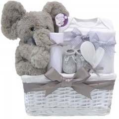 My First Teddy Elephant Baby Shower Hampers Unisex / Large New Baby Hamper Basket Boy or Girl