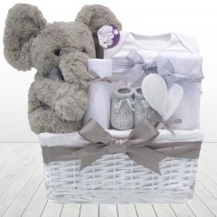 My First Teddy Elephant Large New Baby Gift Basket Hamper ⼁Baby Clothes Hamper