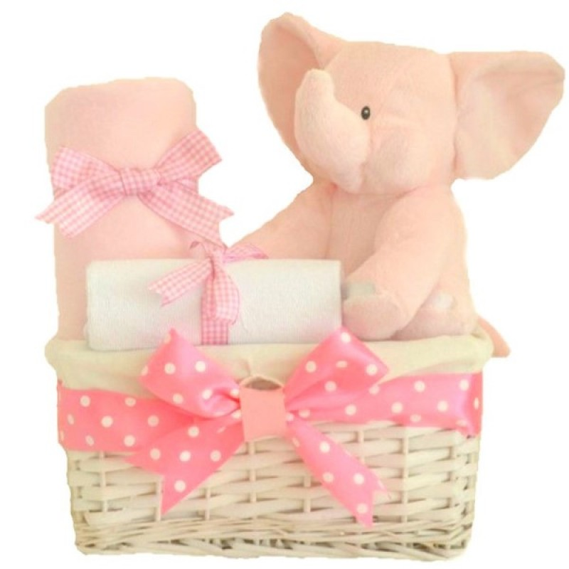 My first teddy elephant baby girl gift hamper nappy cakes baby my first teddy elephant baby girl gift hamper negle Images