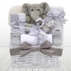 My First Teddy Elephant Unisex Baby Hamper Basket