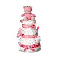 Signature Three Tier Pink Girls Nappy Cake / New Baby Gifts / Baby Showers Gifts / Nappy Cakes