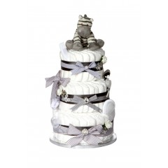 Signature Three Tier Grey Unisex Nappy Cake / New Baby Gifts / Baby Showers Gifts / Nappy Cakes