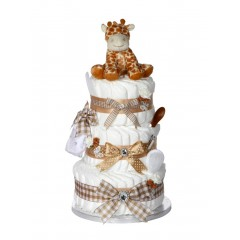 Signature Three Tier Beige Unisex Nappy Cake / Baby Showers Gifts / Nappy Cakes (3 Tier)