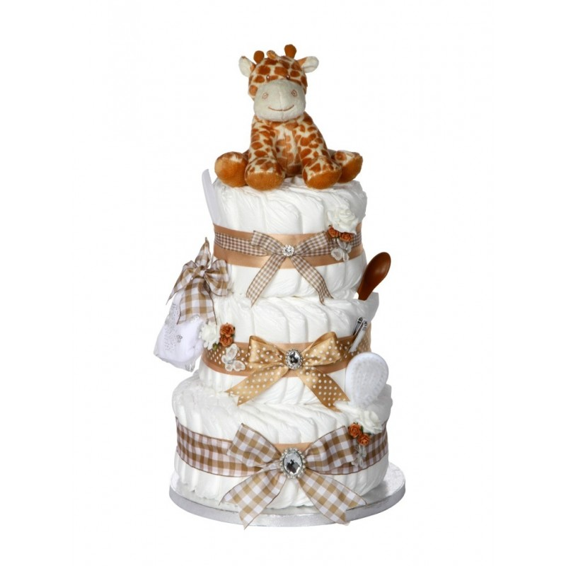 Signature Three Tier Beige Unisex Nappy Cake / Baby Showers Gifts / Nappy  Cakes (3