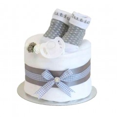 Signature Single Tier Unisex Nappy Cake Single Tier (Mini) Grey  / Baby Shower Gifts / New Baby Gifts