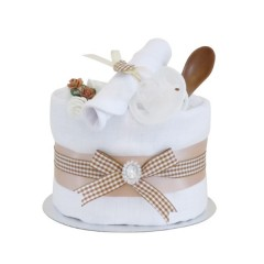 Signature Single Tier Beige Unisex Nappy Cake (Mini)  / Baby Shower Gifts / New Baby Gifts