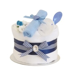 Signature Single Tier Blue Boy Nappy Cake (Mini) / Baby Shower Gifts / New Baby Boy Gifts