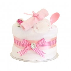 Signature Single Tier Pink Girls Nappy Cake (Mini) / Baby Shower Gifts / New Baby Girl Gifts