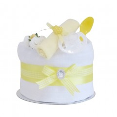 Signature Single Tier Yellow Unisex Nappy Cake (Mini)  / Baby Shower Gifts / Unisex New Baby Gifts