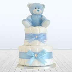 Teddy Bear Luxury Blue Two Tier Baby Boy Nappy Cake For A Baby Shower