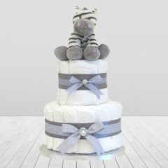 Mr Zebra Two Tier Unisex Baby Nappy Cakes  ⼁ Safari Diaper Cake Gifts For Expecting Parents
