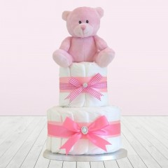 Teddy Bear Two Tier Princess Pink Baby Girl Nappy Cake