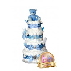 Signature Four Tier Blue Boys Nappy Cake / New Baby Gifts / Boys Baby Showers Gifts