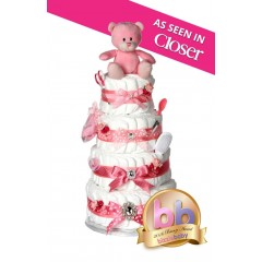 Signature Four Tier Girls Pink Nappy Cake / New Baby Gifts / Baby Showers Gifts / Nappy Cakes