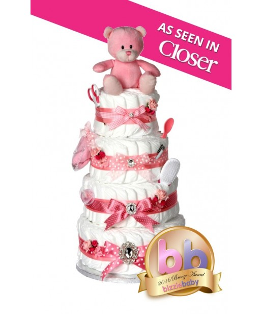 New Baby Girl Gift Ideas Uk : Signature four tier girls pink nappy cake new baby gifts