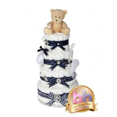 Signature Four Tier Baby Boys Nappy Cake / Baby Showers Gifts / Deluxe Nappy Cakes