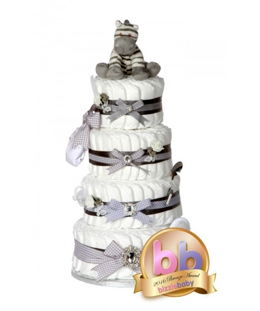 Signature Four Tier Grey Deluxe Unisex Nappy Cake / Baby Showers Gifts / Christening Baby Gifts