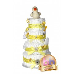 Signature Four Tier Yellow Unisex Nappy Cake / Deluxe New Baby Gifts / Baby Showers Gifts