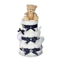 Signature Three Tier Boys Navy Blue Nappy Cake / New Baby Gifts / Baby Showers Gifts / Nappy Cakes