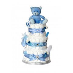 Signature Three Tier Blue Boys Nappy Cake / New Baby Gifts / Baby Showers Gifts / Nappy Cakes