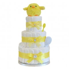 Signature Three Tier Unisex Nappy Cakes / Yellow Nappy Cake / Baby Showers Gifts / Deluxe Baby Gifts