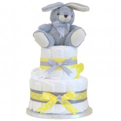 Signature Two Tier Nappy Cake with Baby Accessories / Baby Shower Gifts / Unisex Nappy Cakes