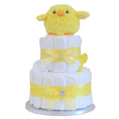 Signature Neutral Nappy Cake 2 Tier with Baby Accessories / Baby Shower Gifts / Unisex Nappy Cakes