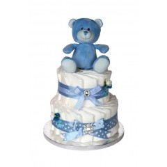 Signature Two Tier Blue Boys Nappy Cake  / 2 Tier Nappy Cake / Boys Nappy Cakes