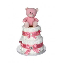 Signature Pink Girls Two Tier Nappy Cake  / Girls Baby Shower Gift / Pink Nappy Cake