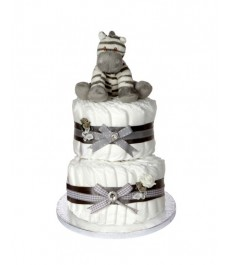 Signature Two Tier Unisex Grey Nappy Cake  / 2 Tier Nappy Cake / Unisex Nappy Cake