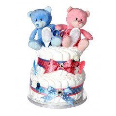 Signature Two Tier Twin Nappy Cake  / Nappy Cakes for Twins / Twin Gifts / Twin Baby Gifts